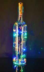Battery operated cork wine bottle fairy lights, button battery powered multi coloured