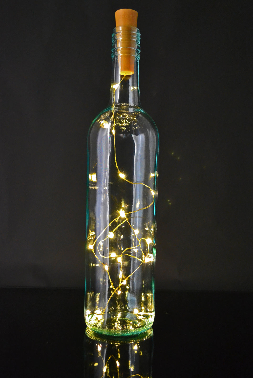 Battery operated cork wine bottle fairy lights, button battery powered warm white