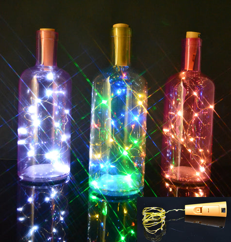 Battery operated cork wine bottle fairy lights, button battery powered