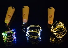 Battery operated cork wine bottle fairy lights, button battery powered 3 colours