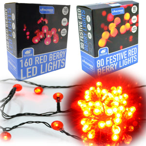 Red berry LED Christmas Lights Holly tree decorations outdoor ball lights 1