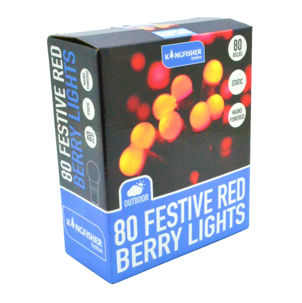 Red berry LED Christmas Lights Holly tree decorations outdoor ball lights 80