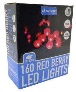 160 Red berry LED Christmas Lights Holly tree decorations outdoor ball lights