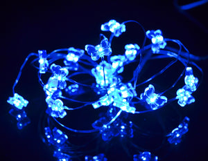 20 Butterfly fairy lights micro LED battery operated silver wire blue