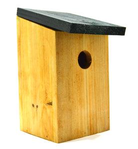Kingfisher Nesting Box bird house for small garden birds front and side