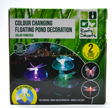 3 x Floating Solar Powered LED Pond Lights Dragonfly & Butterfly Designs