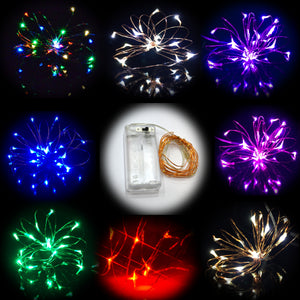 Cool white copper wire rice lights 20 micro LED fairy lights AA battery powered
