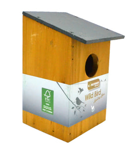 Slate roof nesting box for small garden birds like robins and blue tits