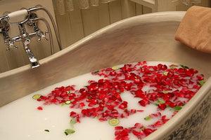 Valentines Day present - Soap Flowers Roses and Carnations Bath with rose petals