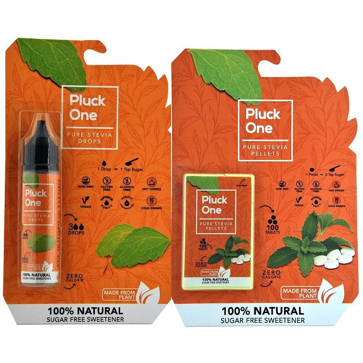 Combo Offer - Pluck One Stevia Drops | 15 ml - 300 Drops + Pluck One Stevia Pellets | 100 tablets