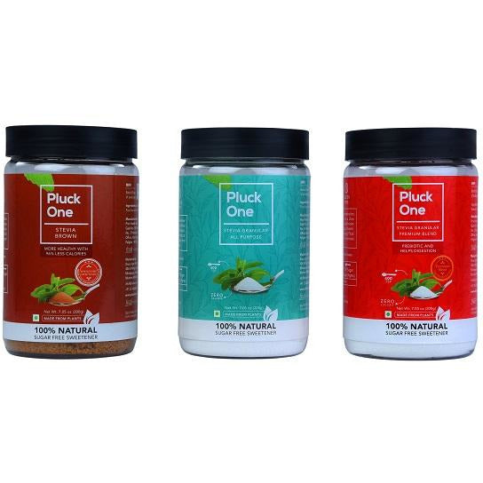 Combo Offer- Pluck One Stevia All Purpose Powder + Stevia Brown + Premium Blend