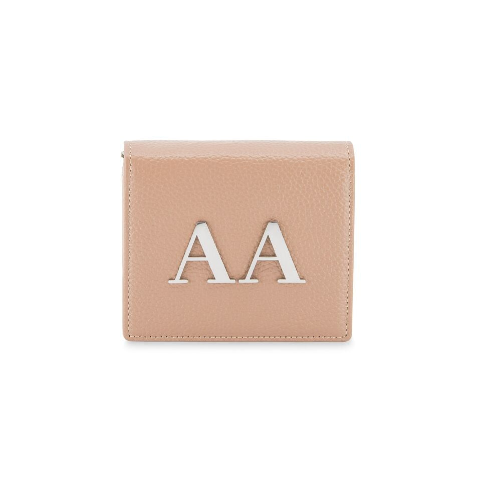The Initial Wallet - Nude & Silver