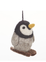 felt so good fair trade skiing penguin Christmas tree decoration