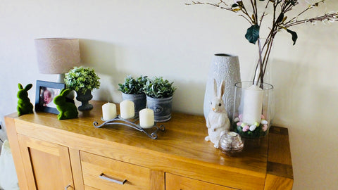 sideboard with easter ornaments