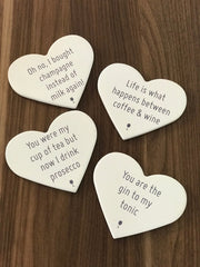 heart shaped coasters with cute prosecco sayings
