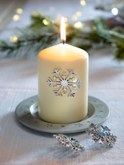 snowflake silver candle pins