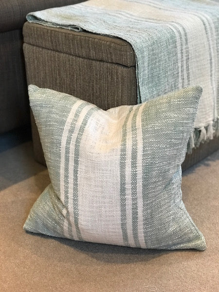 Duck Egg Blue Cushion/Brown and Cream Cushion - Striped