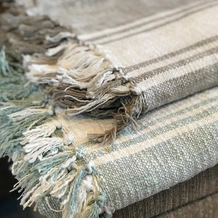 Duck Egg Blue Throw/Brown Throw - Striped