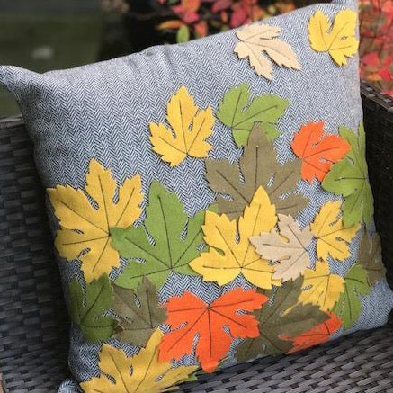 Autumn Leaf Herringbone Cushion