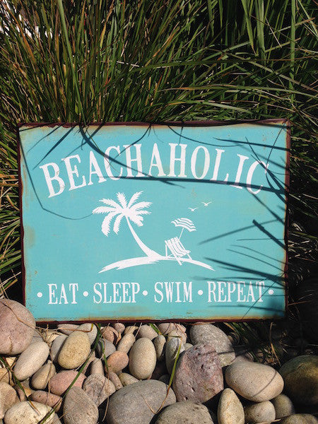 Beachaholic Metal Sign