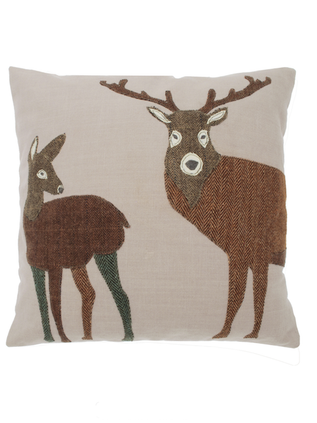doe and stag tweed appliqué cushion