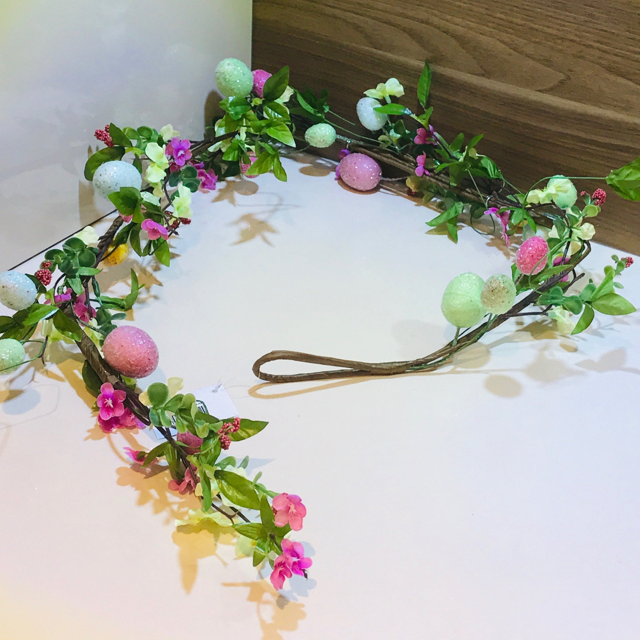 Easter garland pastel flowers and Easter eggs easter wreath