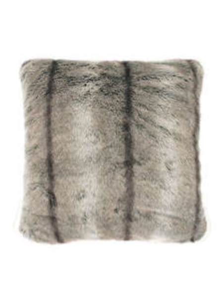 Elk pale brown stripe luxury faux fur cushion