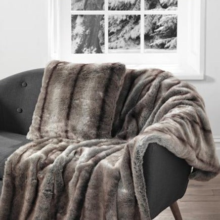 Elk pale brown natural luxury faux fur cushion and throw