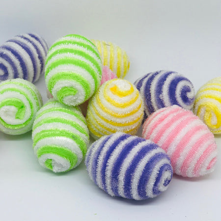 Flock Stripe Easter Egg Decorations