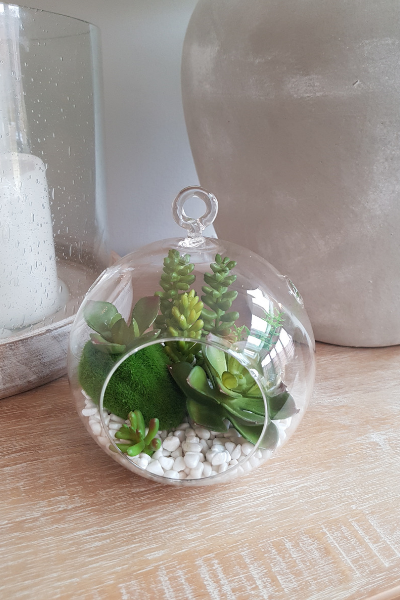 glass bubble artificial succulents white stones