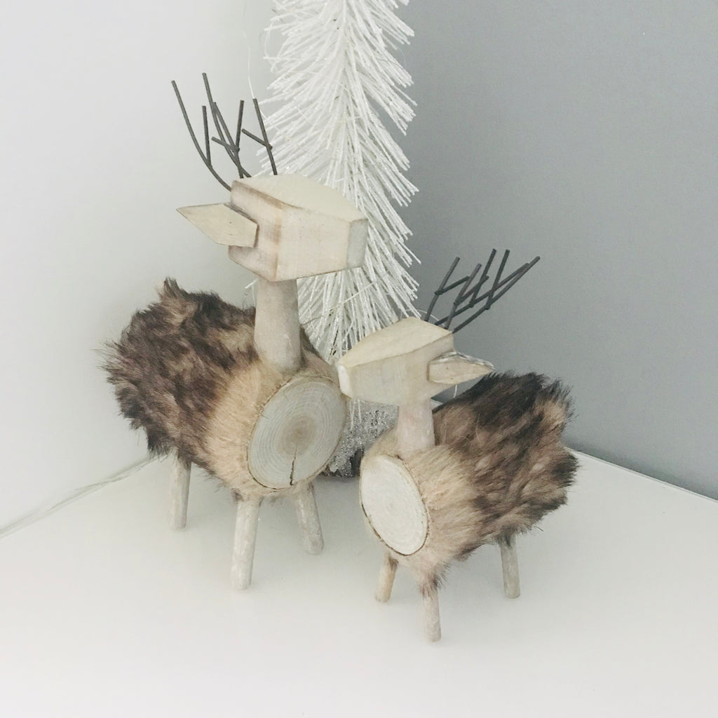 Pair of wood and fur stag Christmas decorations