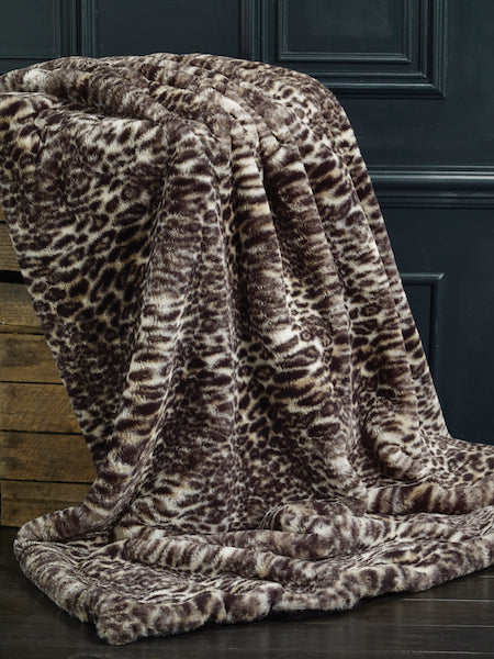 luxury leopard print faux fur throw