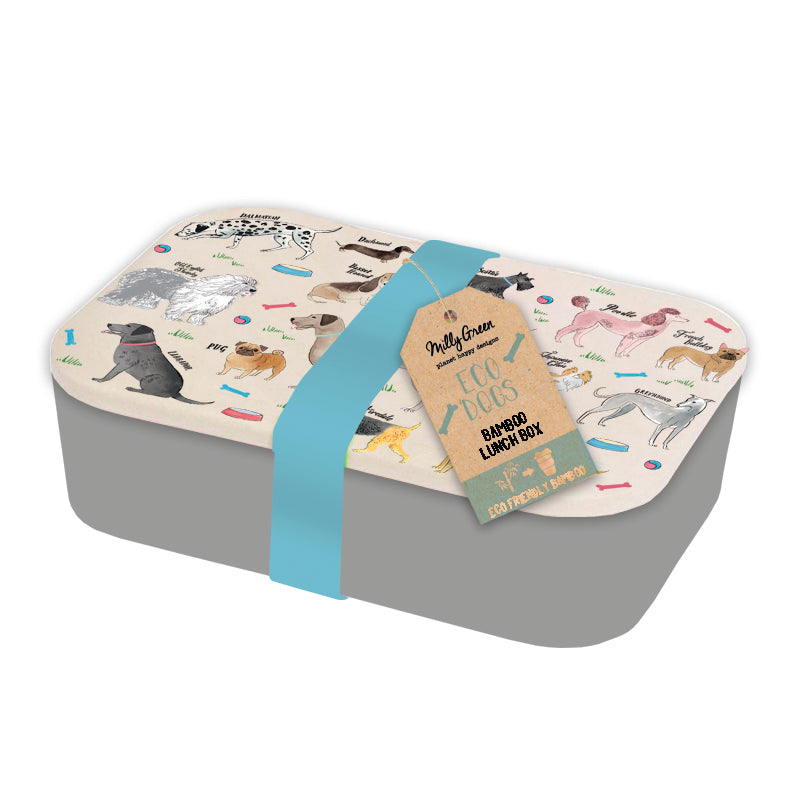 Eco-Friendly Bamboo grey colour lunch box with cream colour lid depicting various breeds of dog. Comes with blue silicone band around entire lunch box