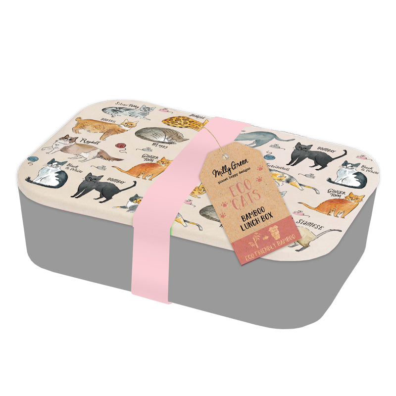 Eco-Friendly Bamboo grey colour lunch box with cream colour lid depicting various breeds of cat. Comes with pink silicone band around entire lunch box