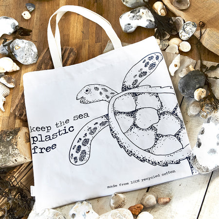 eco friendly cotton bag with turtle image