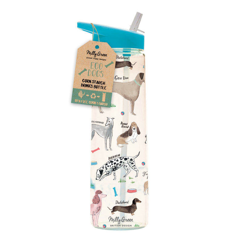 clear cornstarch eco-friendly water bottle in Debonair Dogs design blue top with a variety of dog breeds depicted
