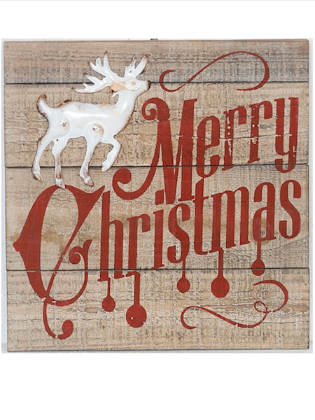 'Merry Christmas' Rustic Wooden Christmas Sign