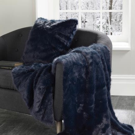 navy blue midnight blue luxury faux fur cushion and throw