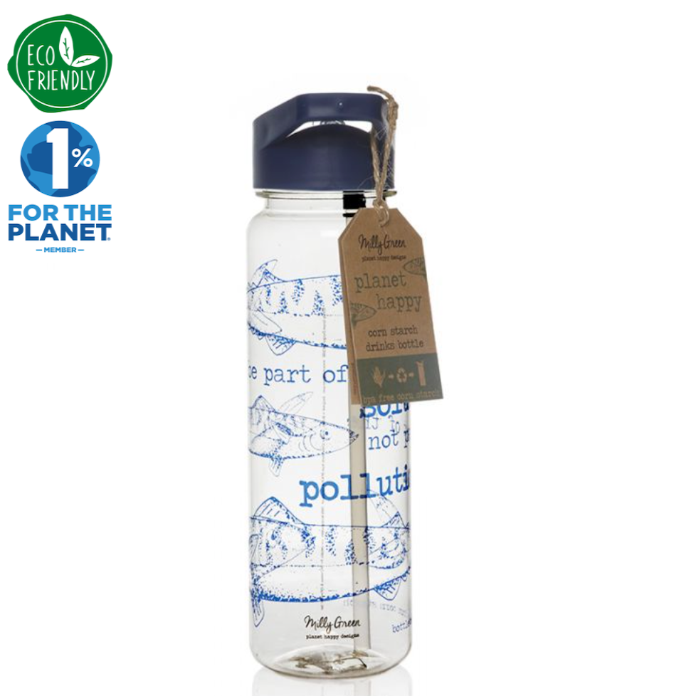 clear cornstarch eco-friendly water bottle in Ocean design navy blue top with wording be part of the solution not the pollution