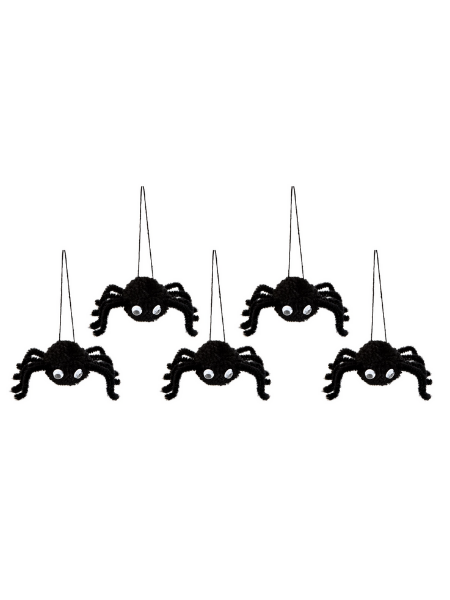 Set of 5 Hanging Spiders Decoration