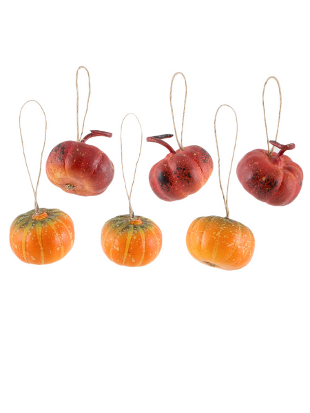 Set of 6 hanging mini decor pumpkins