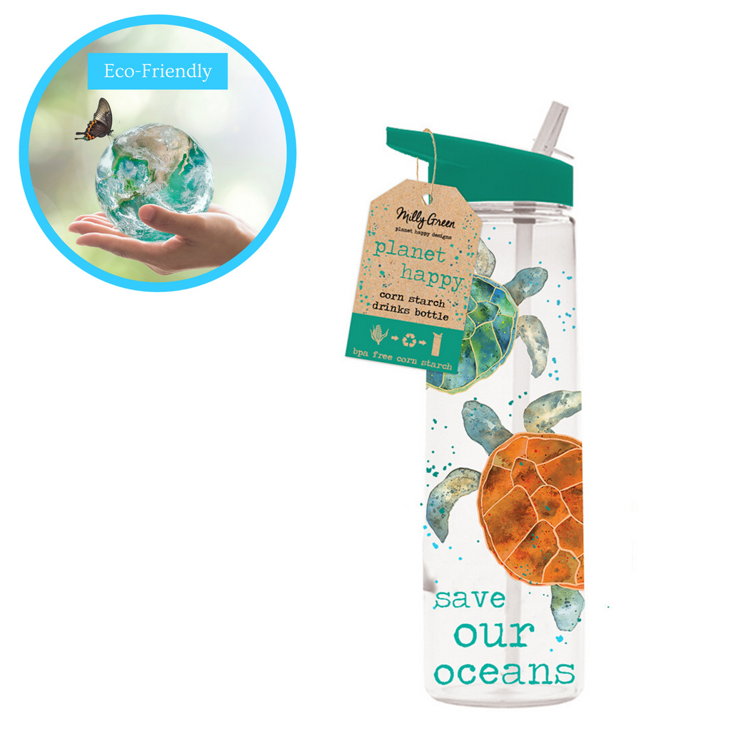 clear cornstarch eco-friendly water bottle in Turtle design navy green top with wording save our oceans