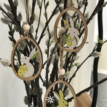 Wooden Hanging Easter Decorations - Set of 3