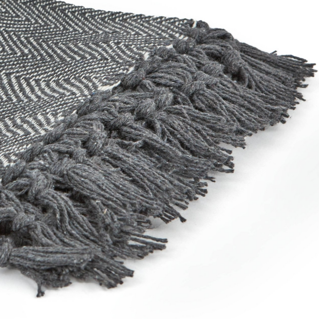 recycled cotton herringbone throw dove grey