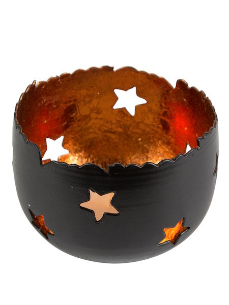 Copper & Black Star Tealight Holder
