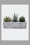 Marble Block Planter of Artificial Succulents and Cacti