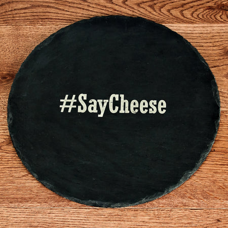 Hashtag Round Personalised Slate Cheese Board