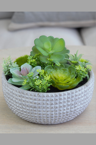 Textured Grey Artificial Succulents Planter
