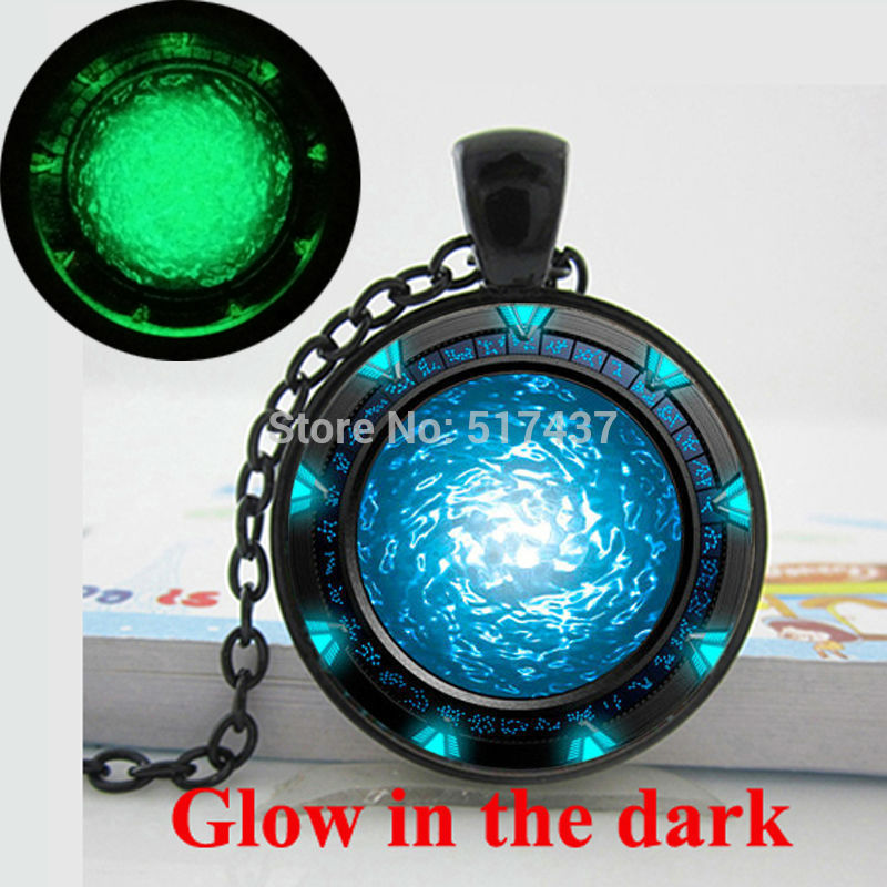 Glow in the dark Necklace Pendants, Stargate Portal Atlantis Necklace