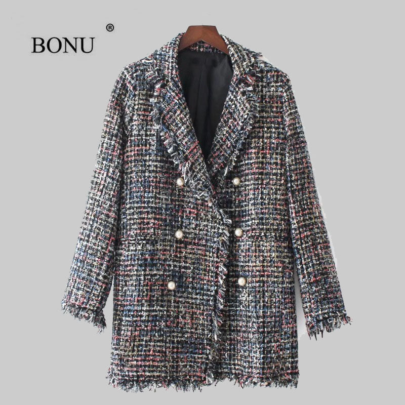 New Autumn Winter Woolen Coat Embroidery Pearl Buckle Jacket